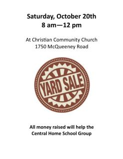 Multi family. Sale to benefit our homeschool group!