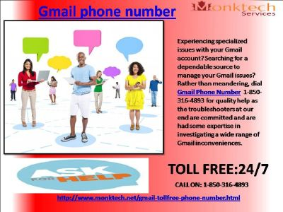 does gmail Phone number wide variety effectively root out your troubles 1-850-361-8504?