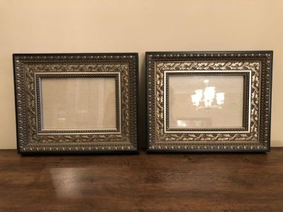 2-8 1/2 x 10 Black wood frames with antiqued silver design holds 5 x 7 picture come wall hang only
