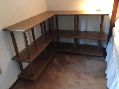 Nice Wood Veneer Corner Shelving Unit - ** Pickup Only**. Would like this Sold and Picked up by July 19,
