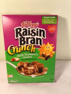 Raisin bran crunch with apple strawberry clusters cereal, expiration January 2020