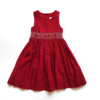 Jacadi Girls Dress Solid Red Smocked Cherry Tie Back 100% Cotton Summer Size 3