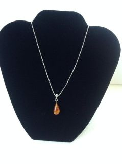 New! Sterling Silver 925 Amber pendant with silver necklace