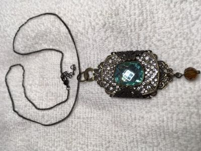Vintage Pendant Necklace Unusual Aqua Faceted Stone Large Rhinestones Filigree Wrap Around Antiq...