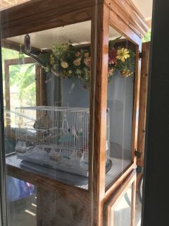 Bird Cage Solid Oak Bird House 2 cages with Glass Doors 24x 36x 8Ft (No Bird)