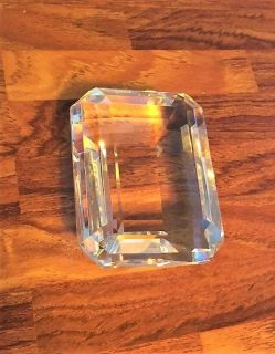 Description Tiffany & Co. Emerald Cut Crystal Paper Weight Exquisite collectors' piece of beautiful crystal -measures 3.5x2.75