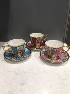 3 Royal Sealy cups and saucers from Japan. Take 3 for $35 or $15 for one