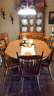 Solid Maple Dining Room Table, 6 Chairs,  China Hutch