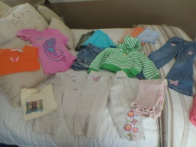 Girls size 6 shorts, skirts, jeans, tops, 17 pieces