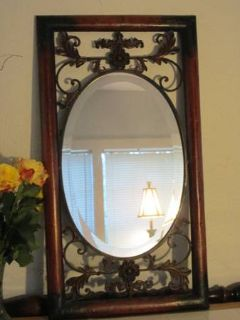 Large Metal Framed Beveled Wall Mirror