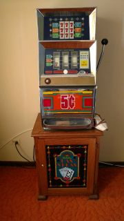 Vintage $.05 Bally slot machine with Stand