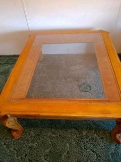 Large Oak Coffee Table with glass top and matching end table