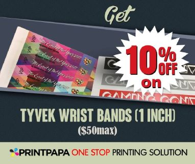Get 10% on Tyvek Wrist Bands(1 inch) from PrintPapa