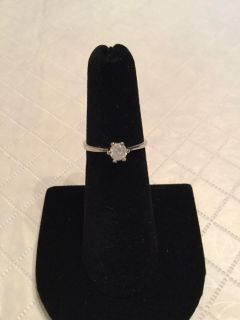 18k silver plated silver cubic zirconia ring size 5
