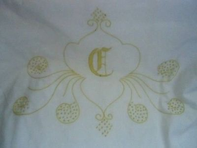 antique full flat sheet set w/ pillowcases cotton monogrammed c