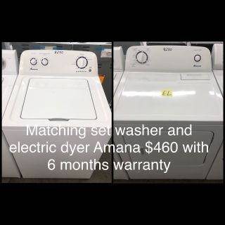 Comes with free 6 Months Warranty-like new matching set washer and electric dryer amana
