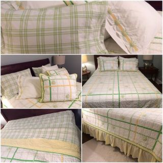 ~~~~Pottery Barn queen/full bedding, quilt, shams, bed skirt, sheets