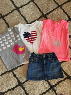 Size 6, 3 shirts and jean skirt w/built in shorts