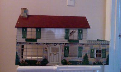 Vintage 1950 Tin Metal Two Story Dollhouse Without Furniture