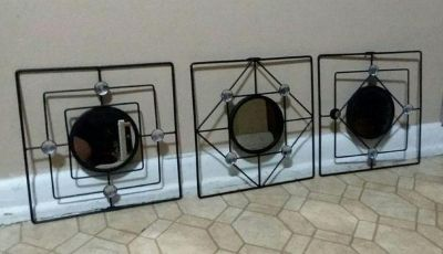 THREE MIRROR/WROUGHT IRON WALL DECOR.....EXCELLENT CONDITION