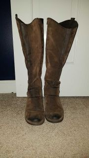 Wide calf brown boots