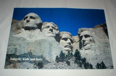 """Mt Rushmore Vintage Poster -1988  (14"""" x 21"""") Unframed - """"Integrity Leads…"""""""