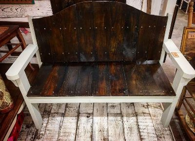 Local made wooden bench