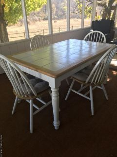 Tile top farm kitchen table and chairs