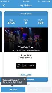 4 Fab Four tickets for June 16 @ Alabama theater