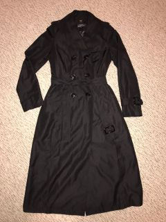 Designer Ellen Tracy Collection Long Black Double Breasted Trench Coat Rain Jacket Sz. XS (Missing One Buckle On Sleeve)