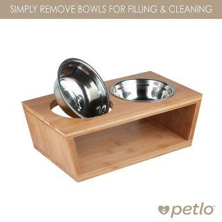 Petlo Elevated Dog & Cat Bamboo Pet Feeder, Double Bowl Raised Stand w/2 Stainless Bowls