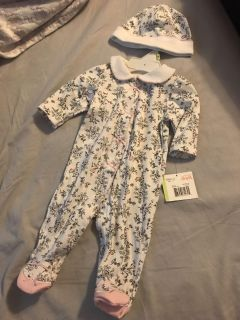 NWT Little me sleeper and hat