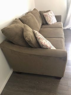 Olive green sofa couch 3 seater with pillows