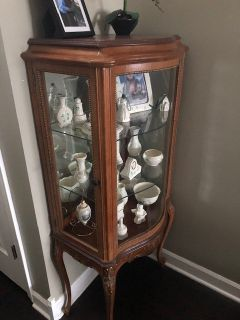 Curved Glass Front Curio Cabinet