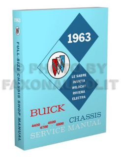 Buy 1963 Buick Shop Manual Riviera Wildcat LeSabre Electra Invicta Repair Service motorcycle in Riverside, California, United States, for US $41.89