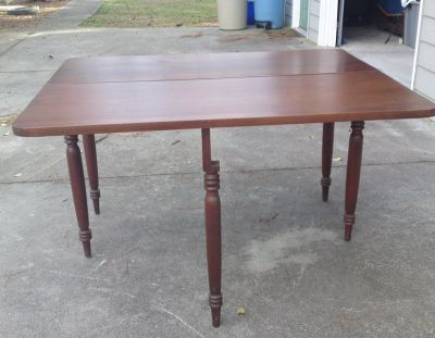 Vintage one-sided solid wood drop leaf table