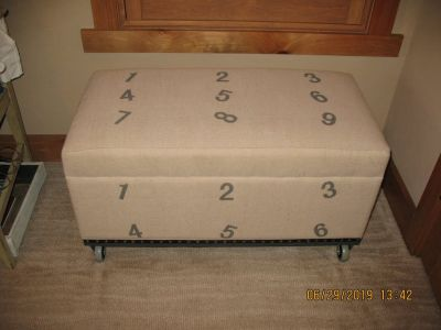 Fabric Covered Storage Bench/Ottoman on Casters