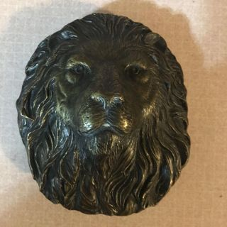 VERY RARE 1978 KING OF THE JUNGLE LION HEAD - SOLID BRASS BERGEMUT