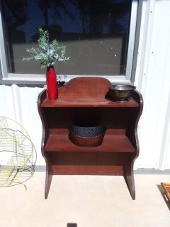 """Solid wood shelf unit/hutch 32"""" X 13"""" X 37 great condition doesnt need refinished but might look cute painted"""