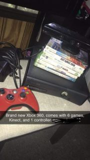 Xbox 360, Controller, Kinect Camera, and games.
