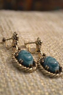 VINTAGE gold plated and JADE screw back earrings