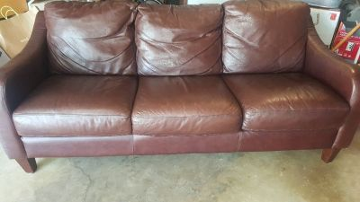 Comfy Brown Leather Couch