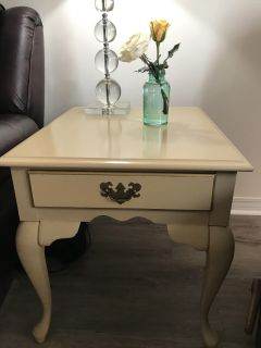TWO matching Ivory with Gold trim end tables