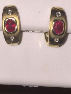14k yellow gold Huggies With Real Diamond And Ruby.