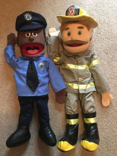 Puppets Cop and Firefighter