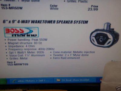 Sell BOSS MARINE WAKETOWER SPEAKER 6X9 4-WAY 153-MRWT69 BOAT motorcycle in Osprey, Florida, US, for US $119.99