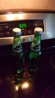 Sprite glass salt and pepper shakers