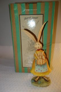 August Moon Collectible Big Mama LITTLE TREASURES~ Ma Bunny w/ 3 baby bunnies Triplets!