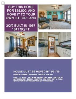 Home For Sale TO BE MOVED!