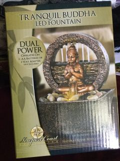 Buddha light up LED table fountain new in box